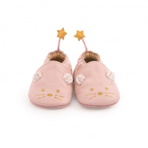 Chaussons cuir Souris Rose 12-18 M