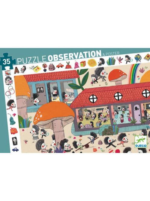 Puzzle d'observation l'école des hérissons 35 pièces