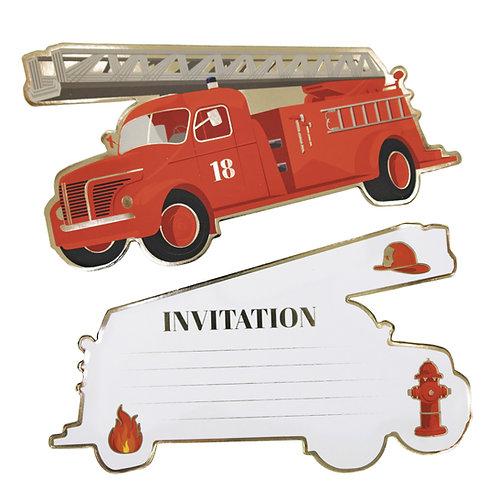 Cartes d'invitations Pompiers X8
