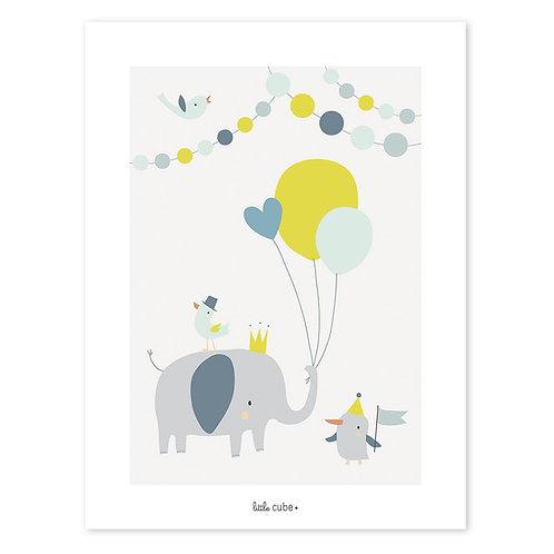 Affiche Éléphant ballons