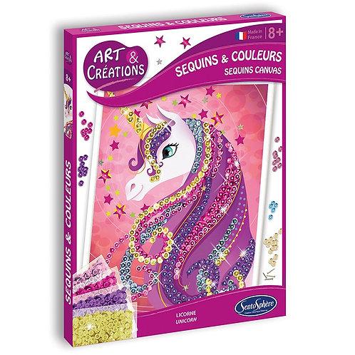 Canvas sequins & couleurs Licorne