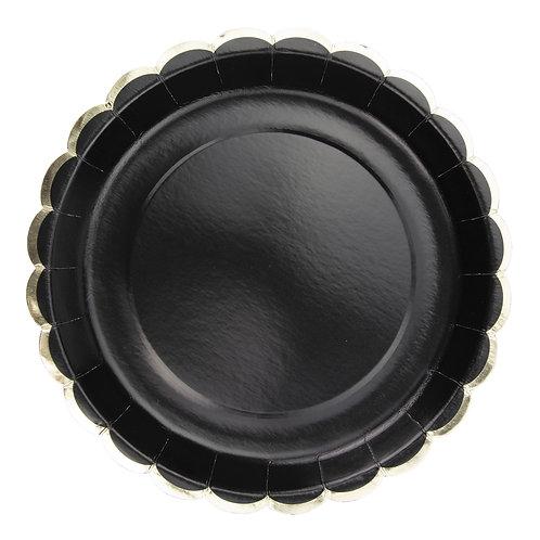 Assiettes à festons noirs et or