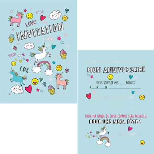 Cartes d'invitations Licornes X8