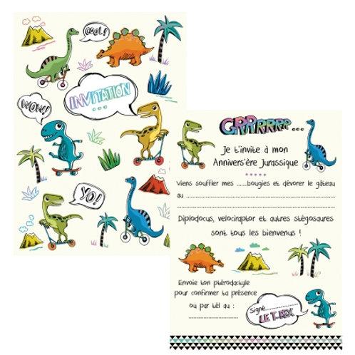 Cartes d'invitations Dinos X8