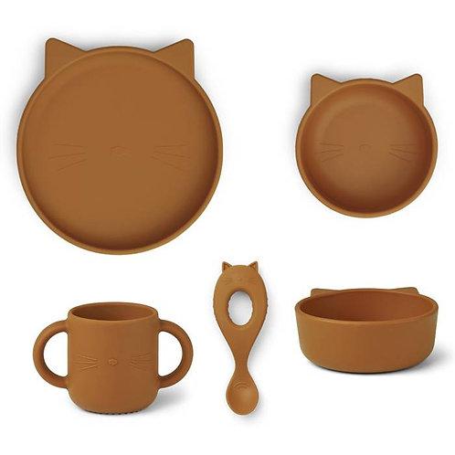 Coffret repas en silicone Chat Moutarde