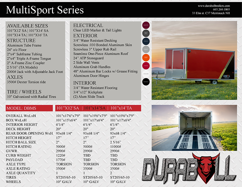 Multisport trailer specs