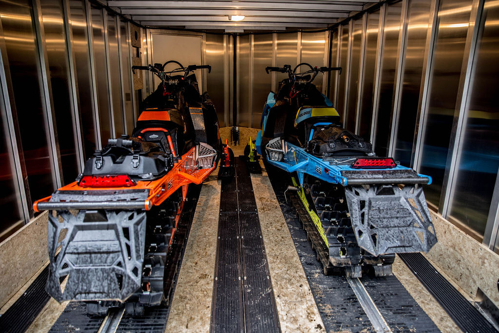 Inside MultiSport Trailer with sleds