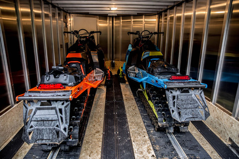 Inside MultiSport Trailer with sleds