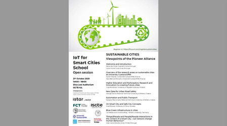 CCO in 'IoT for Smart Cities School' open session on Sustainable cities 21 Oct with Pioneer Alliance