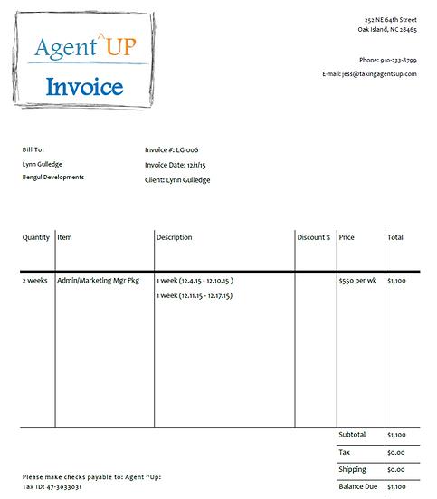 Invoice 12.4 - 12.17.15