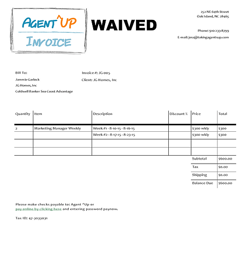 Invoice 8.10 - 8.23.15 (WAIVED)