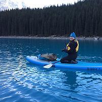 Stand Up Paddleboarding Lake Moraine, Banff National Park, Alberta, Canada