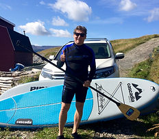 Thumbs up for Stand Up Paddling adventures in Newfoundland, Canada.