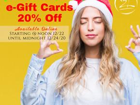 FLASH SALE!  E-Gift CARDS 20% OFF thru Dec. 24th
