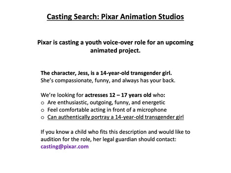 Is Pixar Planning to Have Their First Trans Character?