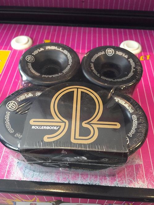 "Rollerbones ""Logo"" Wheels, 62x30mm, 101A, black, 8 Stk."