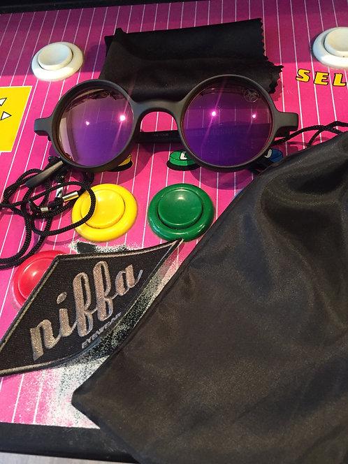 "Niffa Eyewear ""Modern Age Hippie"" purple rain / flat black / syrup mirrored"