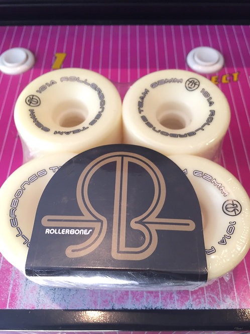 "Rollerbones ""Logo"" Wheels, 62x30mm, 101A, white, 8 Stk."