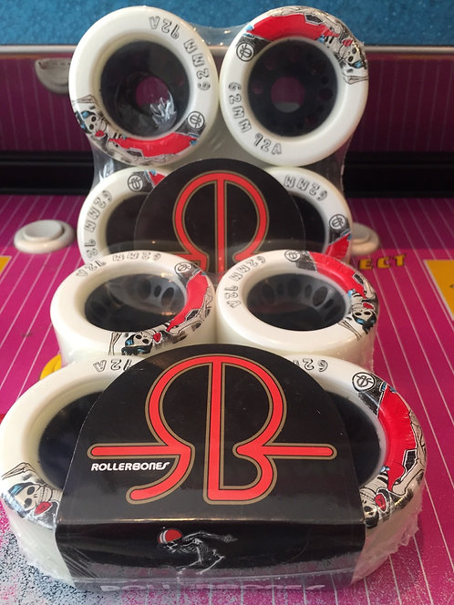 """Rollerbones Wheels, Day of the Dead"""", 62mm, 92a, white, 8 Stk"""