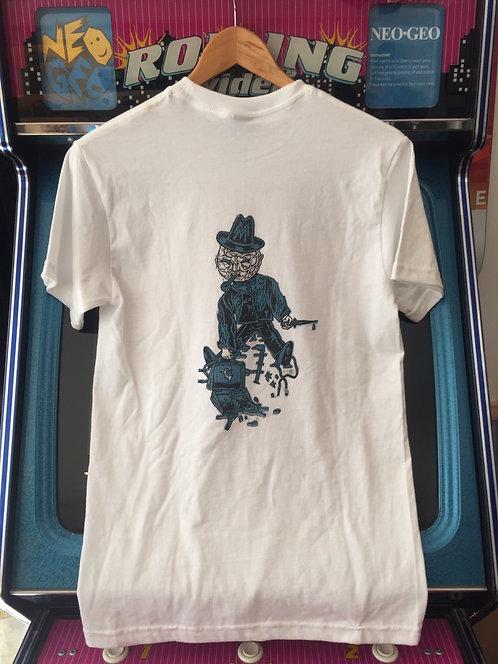"""Shredderei Shop T-Shirt """"Messerstadt"""", grau / weiß"""
