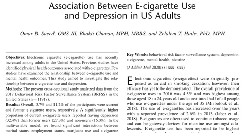 Association Between E-cigarette Use and Depression in US Adults