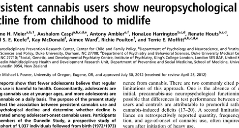 Persistent cannabis users show neuropsychological decline from childhood to midlife