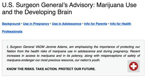 U.S. Surgeon General's Advisory: Marijuana Use and the Developing Brain