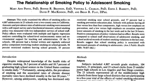 The Power of Policy: The Relationship of Smoking Policy to Adolescent Smoking