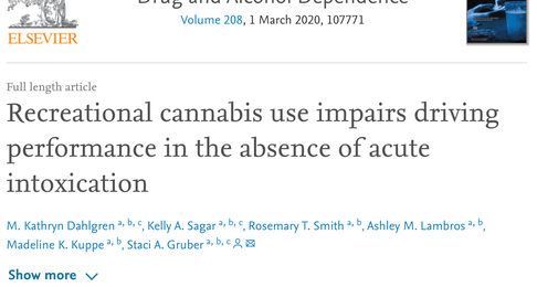 Recreational Cannabis Use Impairs Driving Performance in the Absence of Acute Intoxication