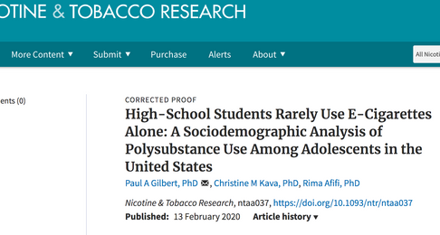 High-School Students Rarely Use E-Cigarettes Alone: A Sociodemographic Analysis of Polysubstance Use
