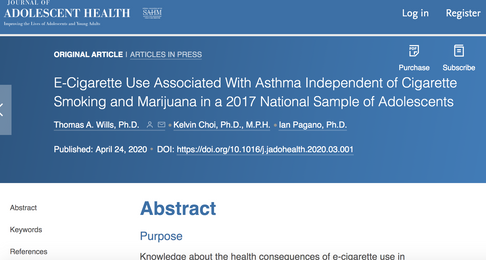 E-Cigarette Use Associated With Asthma Independent of Cigarette Smoking and Marijuana