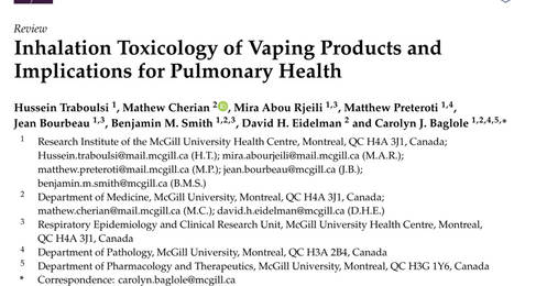 Inhalation Toxicology of Vaping Products and Implications for Pulmonary Health