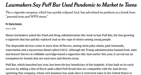 Lawmakers Say Puff Bar Used Pandemic to Market to Teens