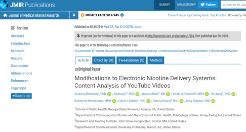 Modifications to Electronic Nicotine Delivery Systems: Content Analysis of YouTube Videos