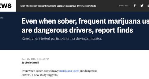 Even When Sober, Frequent Marijuana Users are Dangerous Drivers