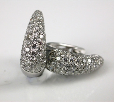 18ct White Gold Pave Diamond Earrings.