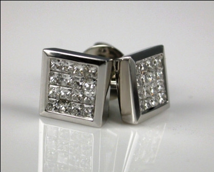 18ct White Gold Invisible Set Pincess Cut Diamond Earrings.