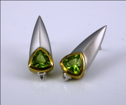 9ct Yellow and White Gold  Drop Earrings.