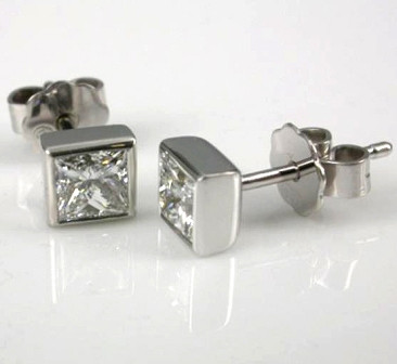 18ct White Gold Princess Cut Diamond Earrings