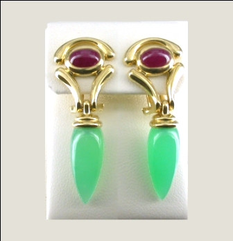 18ct Yellow Gold Rudy and Chrysoprase Drop Earrings.