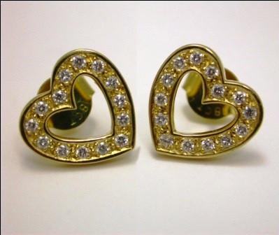 18ct Yellow Gold Heart Shape Diamond Earrings.