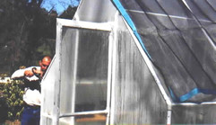 Putting up the greenhouse