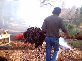 Burning leaves and refuse from preparing the land