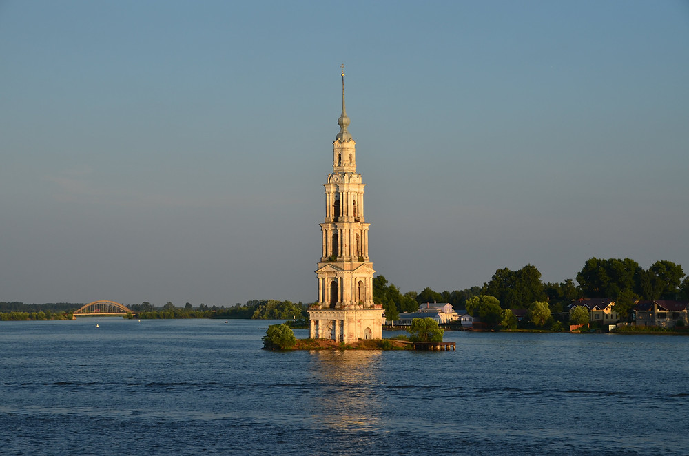 kalyazin, clocher, temple, eglise, barrage, reservoir