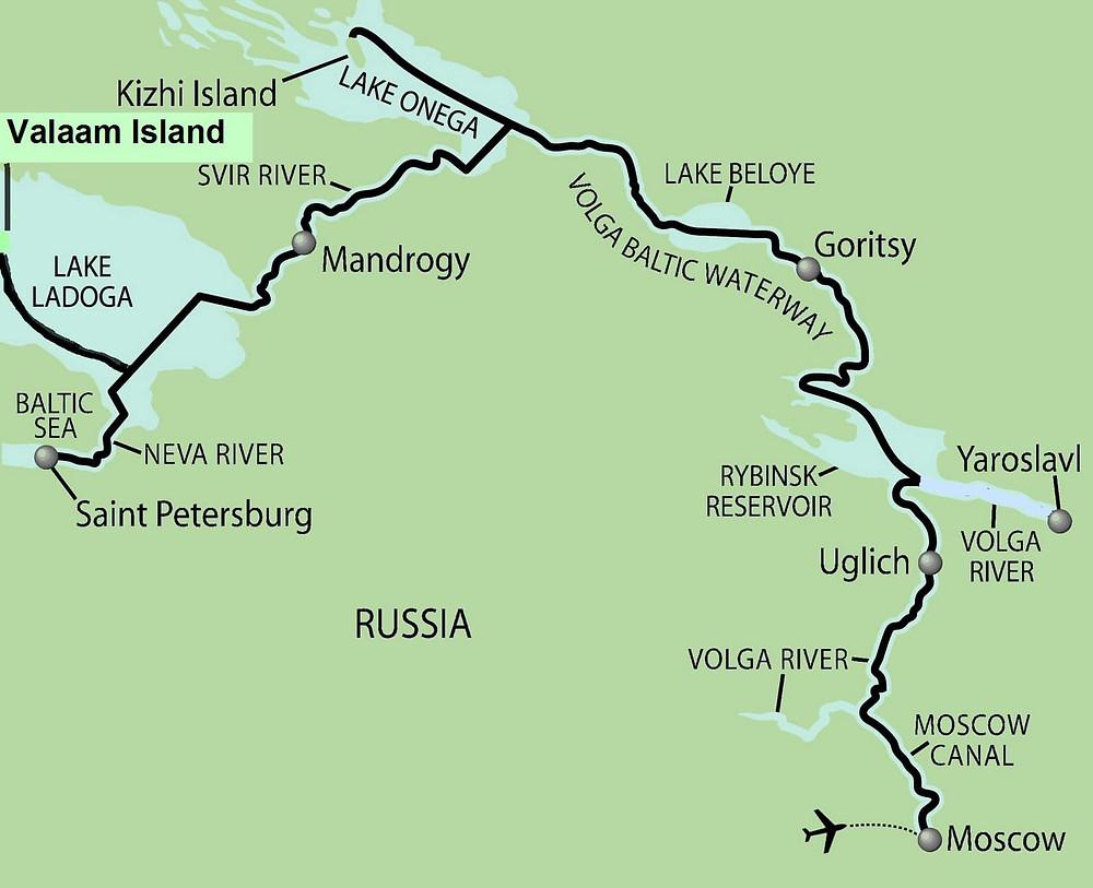 Russie, tourisme, croisière, plan de navigation, étapes, projet, périple