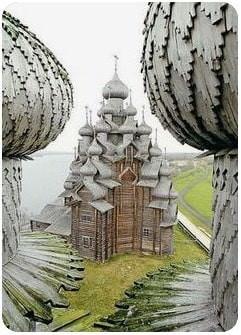 Russie, tourisme, croisière, Eglise, clocher, bulbe, bulle écailles de bois, bardeaux, ais, aisseaux, tavillon, tavaillon