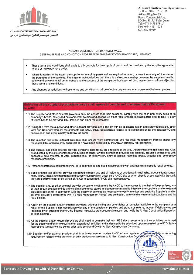 Terms and Conditions of ANCD HSE Complia