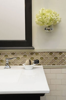 Glass mosaic border with 3X6 subway tiles underneath