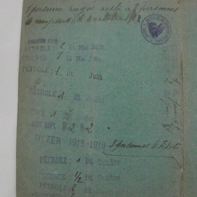 carte rationnement 1921