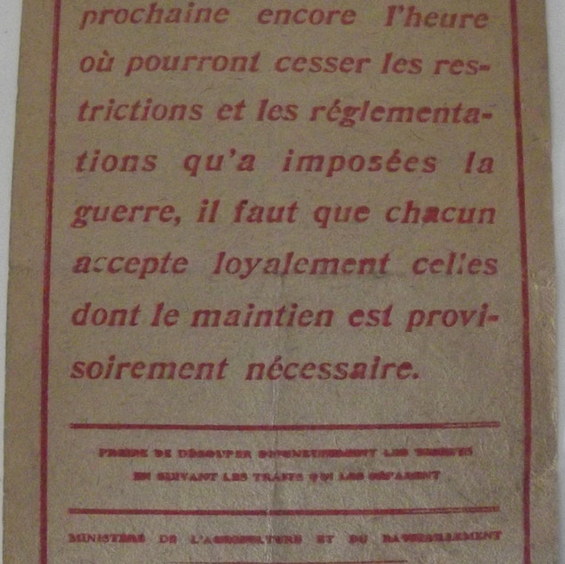 Recommandations du Ministere de l'Agriculture et du Ravitaillement 1919